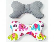 Stabilizační polštářek růžová sloni s šedou