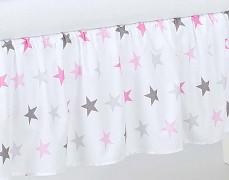 Volánek pod matraci růžovo-šedé hvězdičky