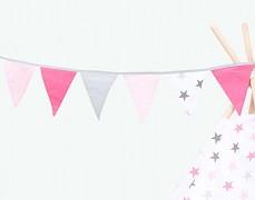 Girlanda růžovo-šedé hvězdičky