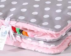 Set šedý puntík s růžovou