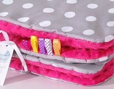 Set šedý puntík s růžovou tmavou