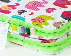 Set růžová sloni se zelenou