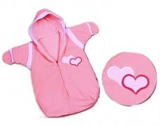 Dětský spací pytel růžový srdíčko