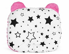 Podhlavníček černobílé hvězdy s růžovou medvídek