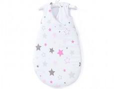 Dětský spací pytel růžovo-šedá stars