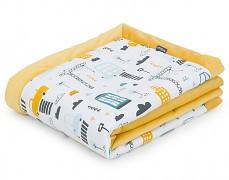 Dětská deka žlutá město velvet