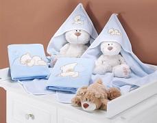 Osuška modrá s výšivkou medvídek Love a kapucí