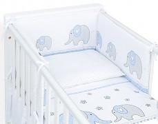 Souprava do postýlky 3dílná modrá elefanti