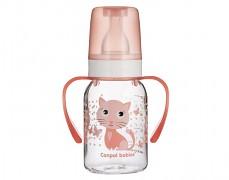 Lahev s úchyty růžová Cute Animals 120ml