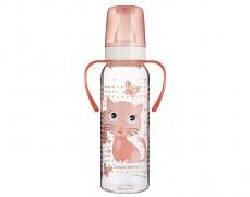 Lahev s úchyty růžová Cute Animals 250ml