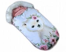 Fusak růžový medvídek s kožešinkou