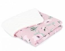 Dětská deka růžové vlčí máky s krémovou velvet