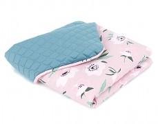 Dětská deka růžové vlčí máky se zelenou velvet, LETNÍ