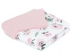 Dětská deka vlčí máky s růžovou velvet, LETNÍ