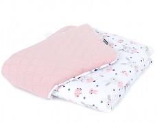 Dětská deka bílý zajíček na houpačce s růžovou velvet, LETNÍ