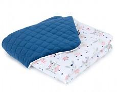 Dětská deka bílý zajíček na houpačce s modrou velvet, LETNÍ
