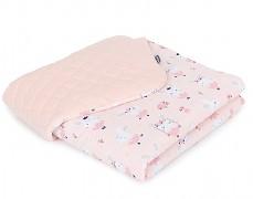 Dětská deka růžový zajíček na houpačce s oranžovou velvet, LETNÍ