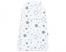 Dětský spací pytel šedobílé hvězdy, mušelín