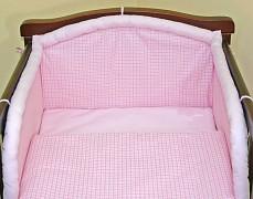 Souprava do postýlky 3dílná růžové kostičky