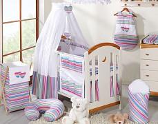 Výbava postýlky fialové proužky nebesa bavlna