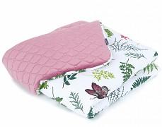 Dětská deka kapradina s růžovou velvet