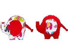 Polštářek červený se slony sloník