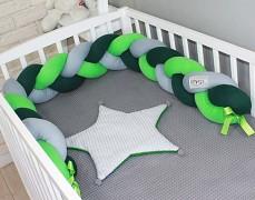 Mantinel zelená/šedá/zelená copánek