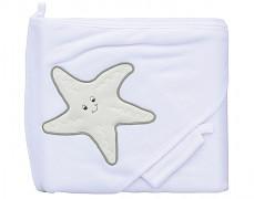 Bílá osuška hvězdice s kapucí + žínka