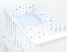 Dětské povlečení modro-šedé hvězdičky