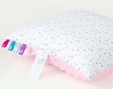 Polštářek bílé mini hvězdičky s růžovou