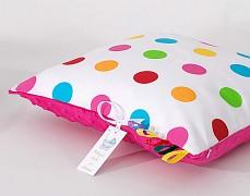 Polštářek barevné puntíky s růžovou