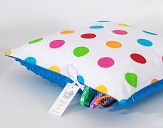Polštářek barevné puntíky s tyrkysovou