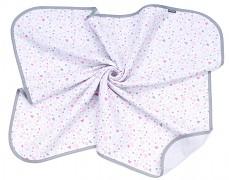 Mušelínová přikrývka srdíčka růžovo-šedé