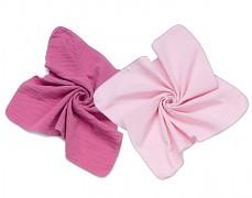 Mušelínové plenky růžová/růžová 2ks