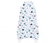 MUŠELÍNOVÝ spací pytel tyrkysové trojúhelníky, s nohavičkou 80-98