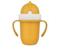 Hrníček se silikonovou slámkou žlutý matný