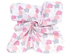 Mušelínové utěrky 35x35 růžová elefanti, 3ks