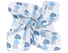 Mušelínové utěrky 35x35 modrá elefanti, 3ks