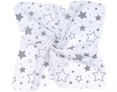 Mušelínové utěrky 35x35 šedobílé hvězdy, 3ks