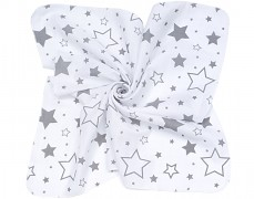 Zavinovací mušelínová plena šedobílé hvězdy 120x120