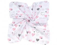 Zavinovací mušelínová plena pink heart růžová elefanti 120x120
