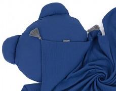 Set modrý tmavý mušelínový se střapci