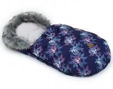 Fusak modrý květy s šedým kožíškem