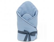 Zavinovačka modrá mušelínová s mašlí