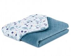 Dětská deka volavky na modrém velvet, LETNÍ 75x100