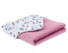 Dětská deka volavky s růžovou velvet, LETNÍ 75x100
