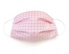 Bavlněná rouška růžová kostička