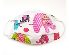 Bavlněná rouška růžová sloni