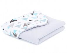 Dětská deka tyrkysové trojúhelníky mušelín