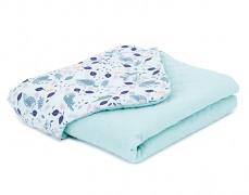 Dětská deka volavky na modrém mušelín, LETNÍ